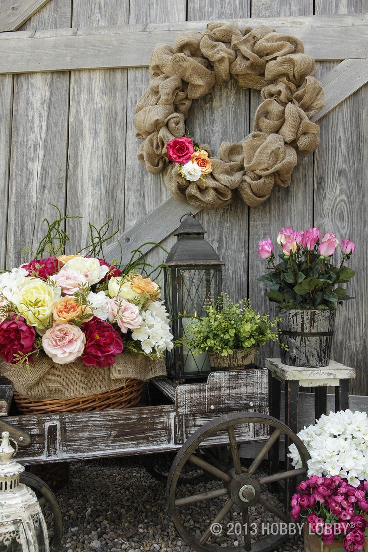 from hobby lobby add some florals to rustic elements for beautiful decor