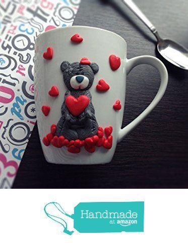 Handmade Mug Teddy Bear Cup White Ceramic Polymer Clay Unique Drink Gift 0,36L from MyFancyCraft http://www.amazon.com/dp/B01DUCLBWU/ref=hnd_sw_r_pi_dp_8eHlxb0F54B6D #handmadeatamazon