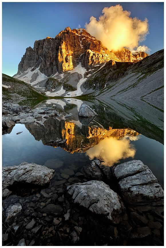 Astraka Peak, Mount Gamila Greece. Beautiful mountain and a great mirror image