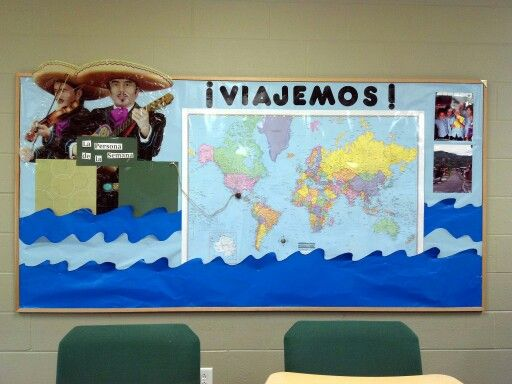Spanish bulletin board: let's travel. Spanish speaking person of the week on the left and pictures of places I have gone on the right