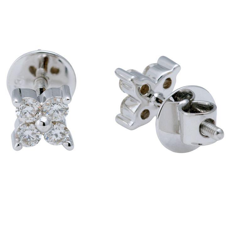 Four Diamond Stud Earrings