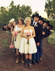 Bridal Party Pose But with Bride and Groom standing next to each other.