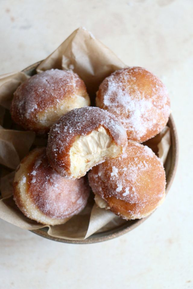"Bite-sized Brioche doughnuts, filled to bursting with salted caramel pastry cream … one is totally not enough ;) | ""Salted Caramel Brioche Doughnuts"" made by Hope @ Add More Butter blog."