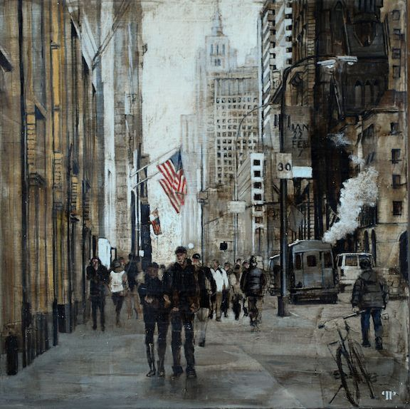 "Patrick Pietropoli, NY 5th Ave at Bergdorf Goodman, 2015, Oil on Linen, 20"" x 20"" #art #axelle #painting #nyc #streetscape #urban #flag #5thAvenue #Bergdorf #goodman #buildings"