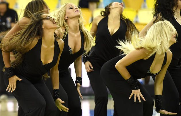Cheersleadres perform before the 2014 FIBA World basketball championships group D match Mexico VS Australia at the Gran Canaria Arena in Gran Canaria on September 3, 2014.