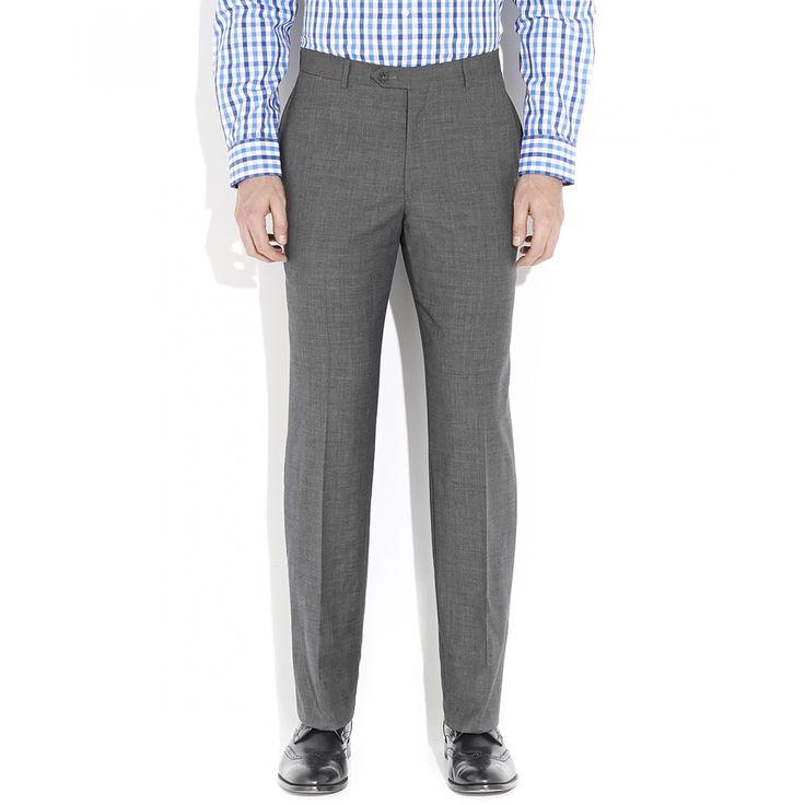 Pantalón Tommy Hilfiger de corte recto con tejido liso gris con sutil jaspeado sin pinzas bragueta de cierre y cinco bolsillos.