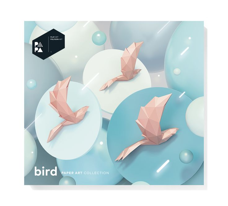 PAPA Bird Pink Package Front | Play Art. Polygon Art. Do Art Yourself.
