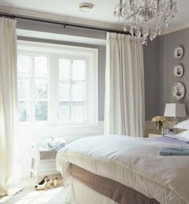 grey bedroom with white bedding and white plantation shutters and curtains - Google Search