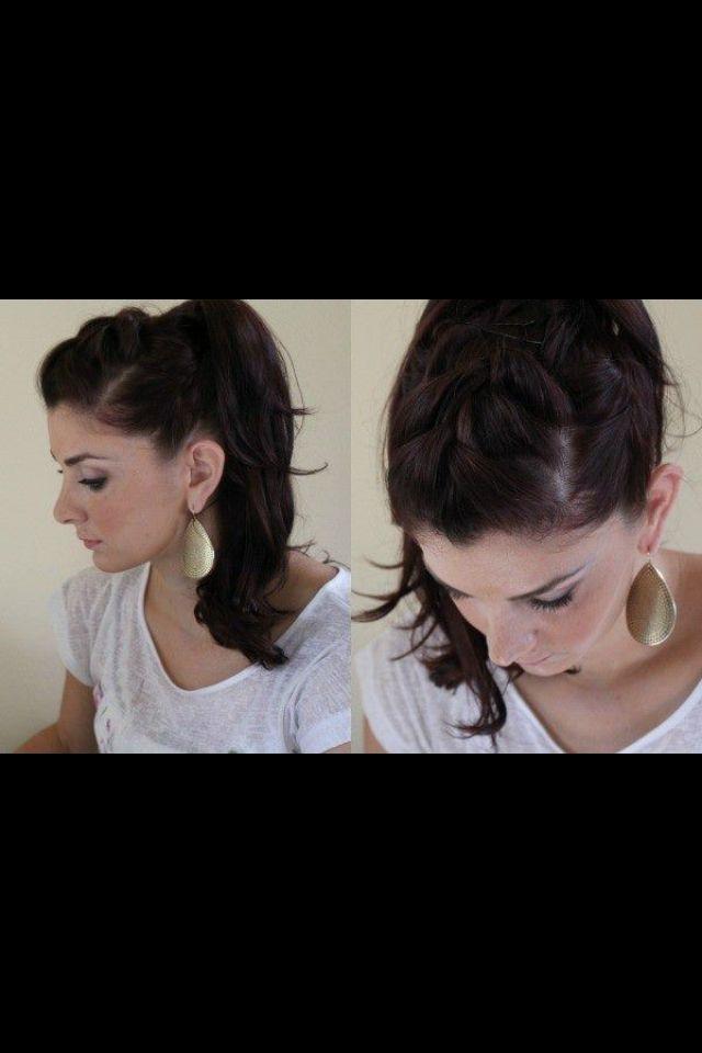 French braid/ pony tail trick love it