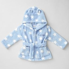 Blue Star Print Hooded Dressing Gown