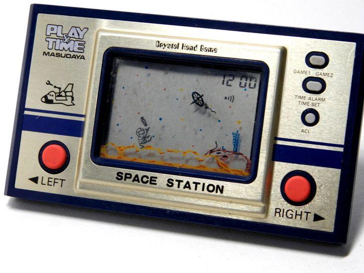 "80s Retro Masudaya LCD Game Watch ""Play & Time"" Space Station MIJ 1982 #Masudaya"