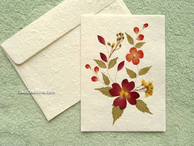 Larger image: SAACA-BFL102 - Wholesale greeting card with pressed flowers on white saa paper
