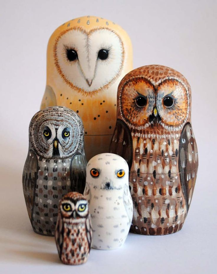 Alice Darkling: Recent Owl Nesting Dolls.