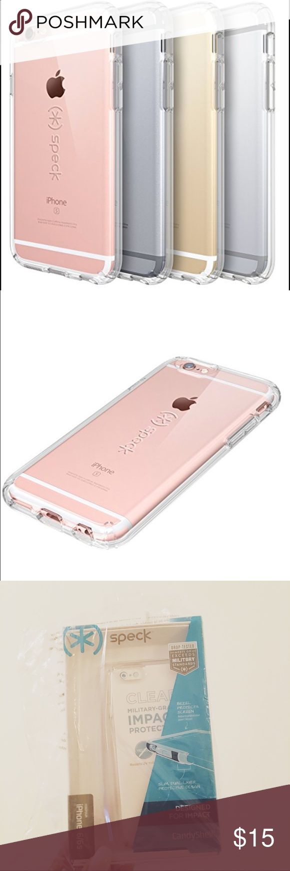 Speck CandyShell Clear iPhone 6/6s Case * Military-grade protection. Meets or exceeds MIL-STD-810G drop tested standards. * Dual-layer design. Exterior hardshell layer disperses impact while interior layer absorbs shock. * Raised bezel. Impact protection from face drops and protects screen when lying face-down on a table or dashboard. * Stays clear. Completely clear design resists yellowing over time. * High-definition clarity. Two layers of innovative materials achieve an HD clarity that…