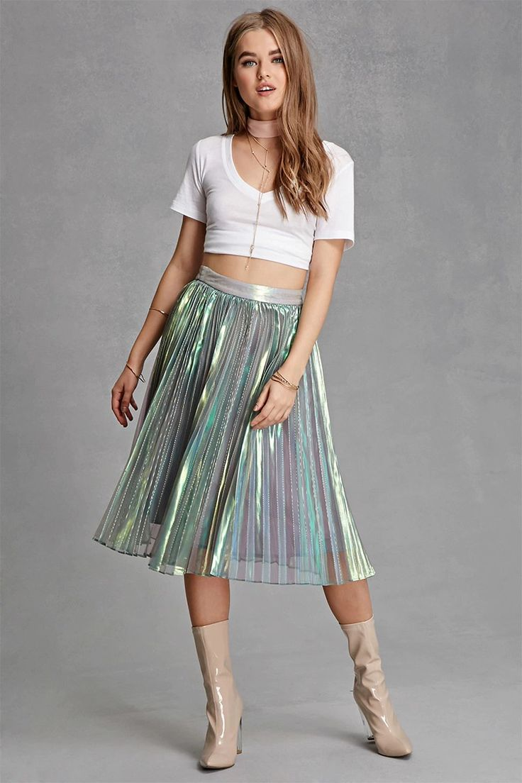 A woven A-line skirt featuring  a layered iridescent mesh fabric, allover pleats, and a concealed side zipper. This is an independent brand and not a Forever 21 branded item.