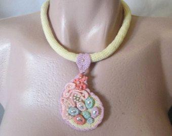 Ganchillo collar collar de fibra colgante de por GiadaCortellini