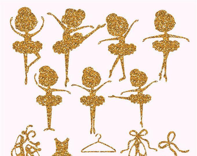 Gold Glitter Ballerina, Gold Glitter Ballerina Clipart, Glitter Ballerina png, Ballerina clipart, Ballerina Stencil, Ballerinas Gold Glitter