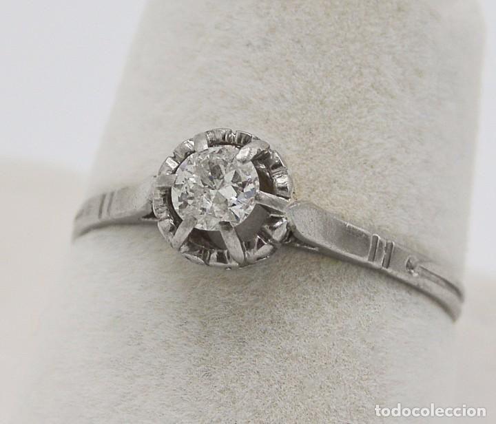 Solitario Sortija Antigua Diamante montada en Platino - Foto 1