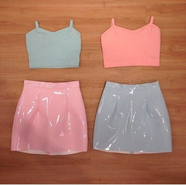 Oh I love the 90s skirt pastel pink pastel blue crop tops tank top pvc