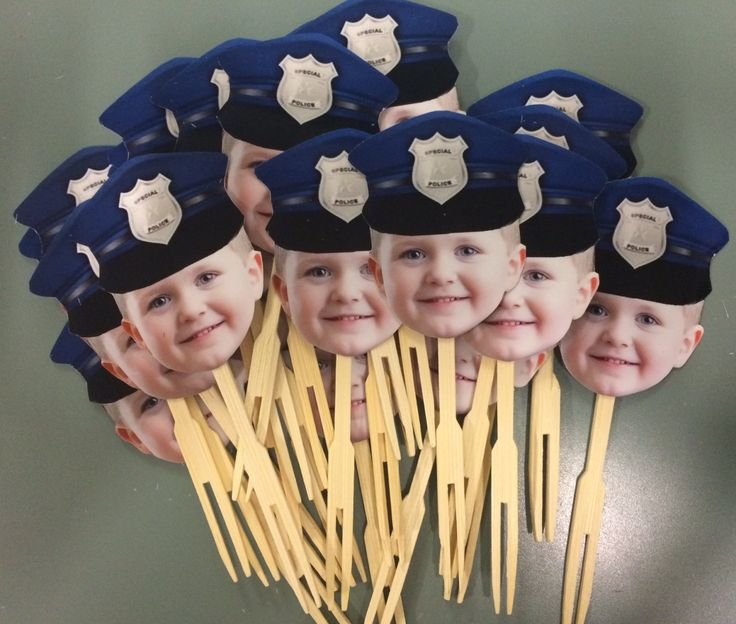 Photo cupcake toppers with POLICE HAT. set of by CakeFaceToppers, $20.00