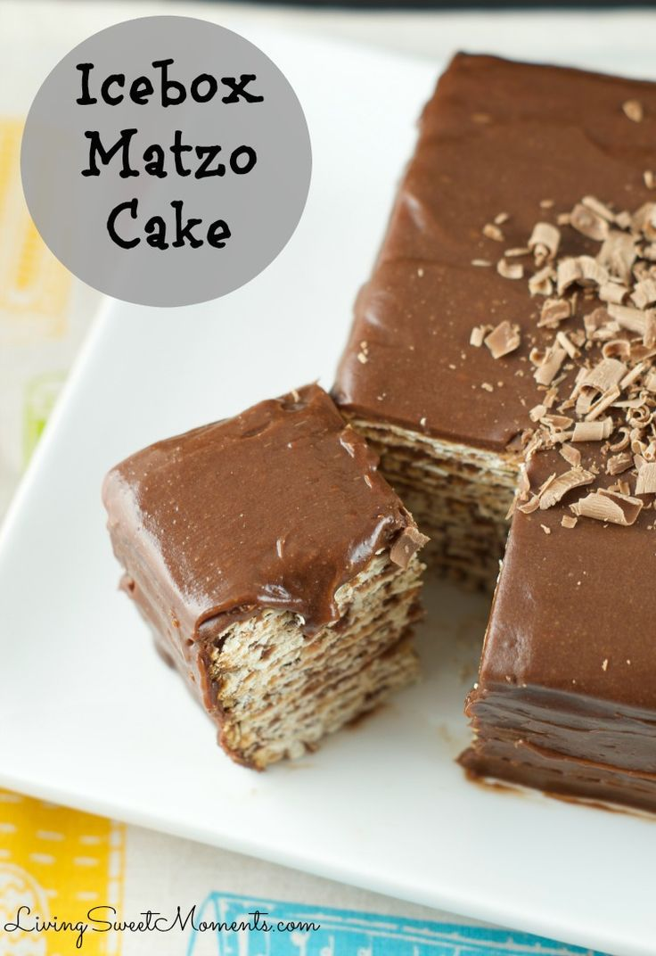 Icebox matzo cake recipe - Easy no bake dessert to serve during Passover Seder. Combine layers or matzos dipped in wine and top with a creamy chocolate icing.