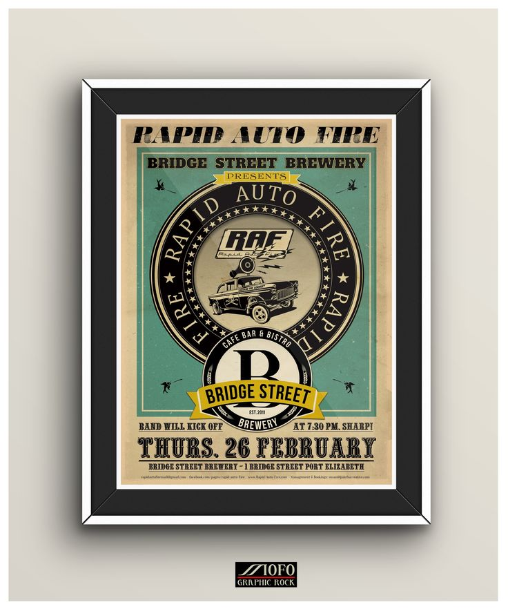 Poster created for the band 'Rapid Auto Fire (rapidautofiremail@gmail.com) for a gig at the Bridge Street Brewery in Port Elizabeth, South Africa. (Copyright: Mofo Graphic Rock. (mofographicrock@gmail.com)