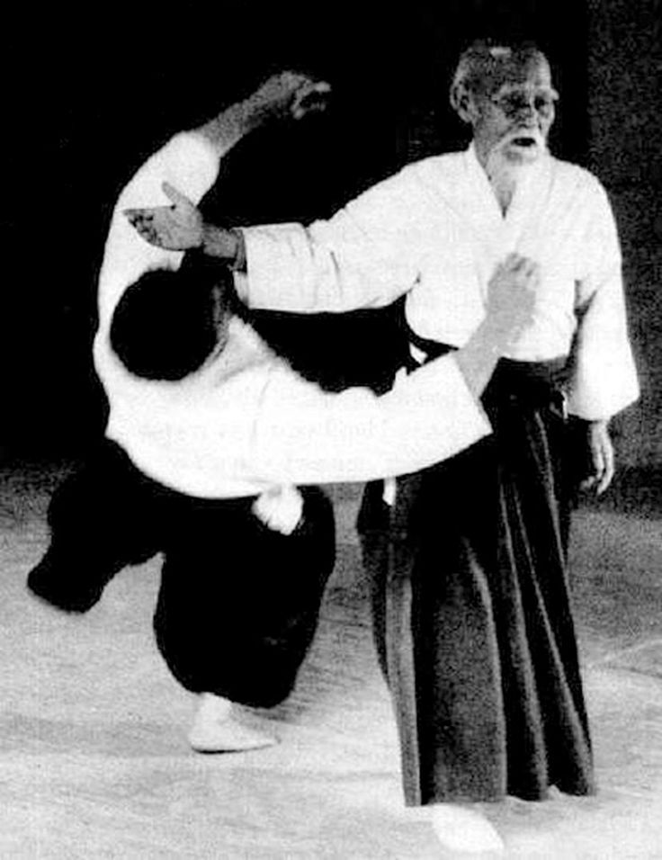"""Morihei Ueshiba was a martial artist and founder of the Japanese martial art of aikido. Aikido [a.i.ki.doː] is a Japanese martial art developed by Morihei Ueshiba as a synthesis of his martial studies, philosophy, and religious beliefs. Aikido is often translated as """"the Way of unifying (with) life energy""""or as """"the Way of harmonious spirit."""" Ueshiba's goal was to create an art that practitioners could use to defend themselves while also protecting their attacker from injury."""