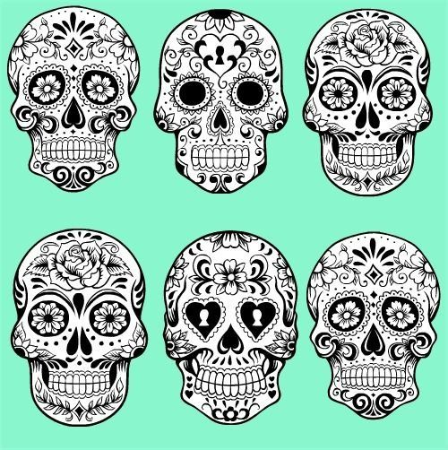 Sugar skulls -- For a punk-neon Halloween, perhaps?