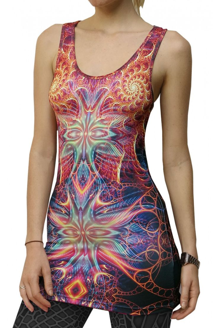 """Sublime Tank Girl : Devine Seraphim The Space Tribe racerback mini-dress / long vest that will really grab people's attention. Slinky stretch polyester lycra fabric (90% polyester, 10% lycra) Printed using sublimation printing technology.  This allows for extremely vibrant colors that will never fade away no matter how many times it gets washed, & results in an extremely soft """"feel"""" to the top for ultimate comfort. Artwork by Amygdalah"""