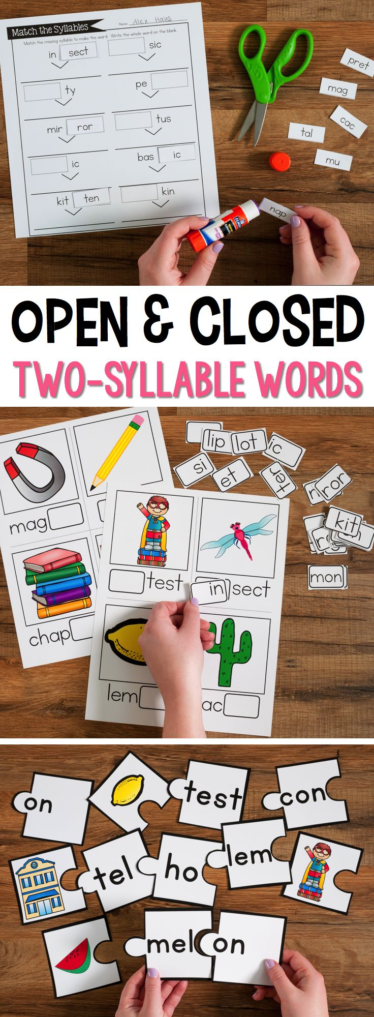 Open and Closed Syllable Practice for Two-Syllable Words has over 12 different activities and games to use during small group reading. All the games and activities focus on students reading and breaking apart two-syllable words.  This unit focuses on syllabic patterns for VCCV, VCV, VCCCV.