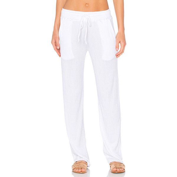 Nation LTD Twiggy Beach Pant (4,515 INR) ❤ liked on Polyvore featuring pants, viscose pants, white trousers, white pants, rayon pants and white beach pants