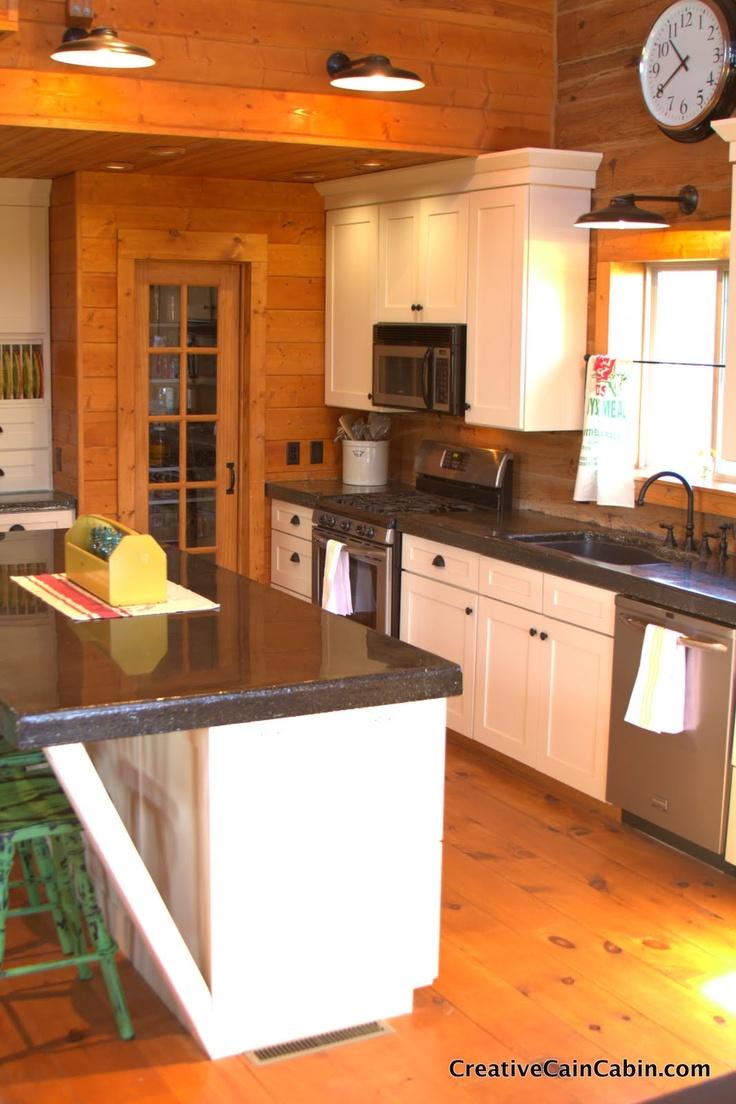Creative Cain Cabin: White Kitchen in a Log Home ...