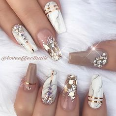 These are so pretty! Marble, glitter and rhinestones nail art. Coffin nails