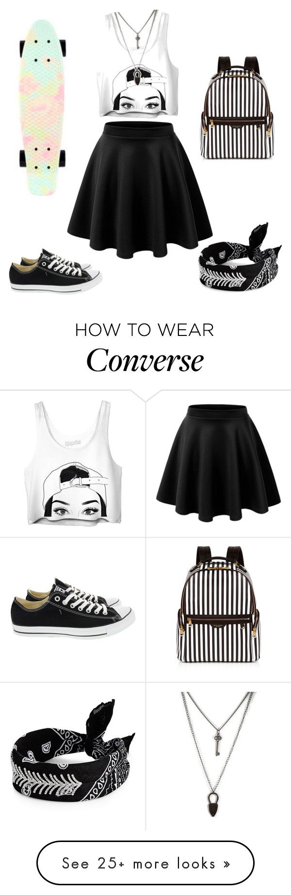 """"" by alexiabuse on Polyvore featuring Converse, Henri Bendel, Penny and Fallon"