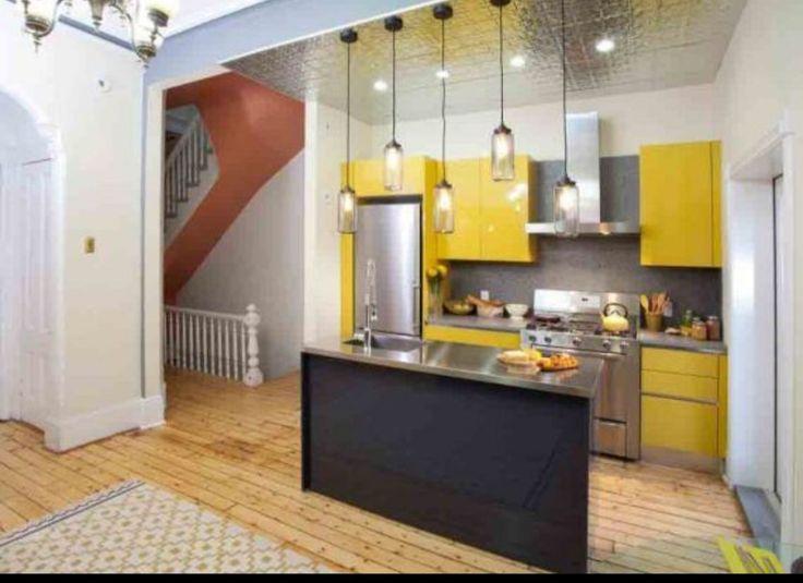 Paduan warna kuning dan hitam untuk dapur cantik dan mungil [inspirasi]