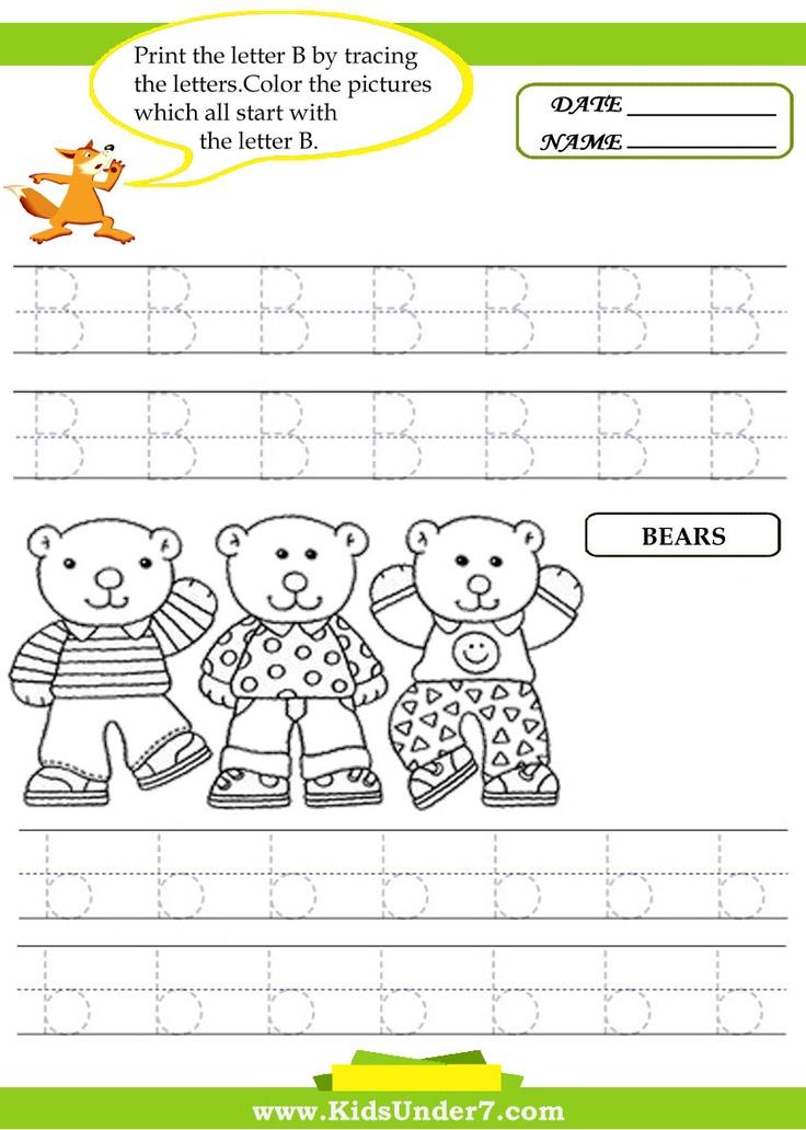 The Letter B trace Preschool Worksheets & Crafts Pinterest