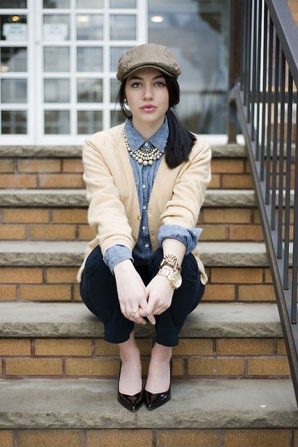 denim shirt + cardigan + statement necklace. everyday fall