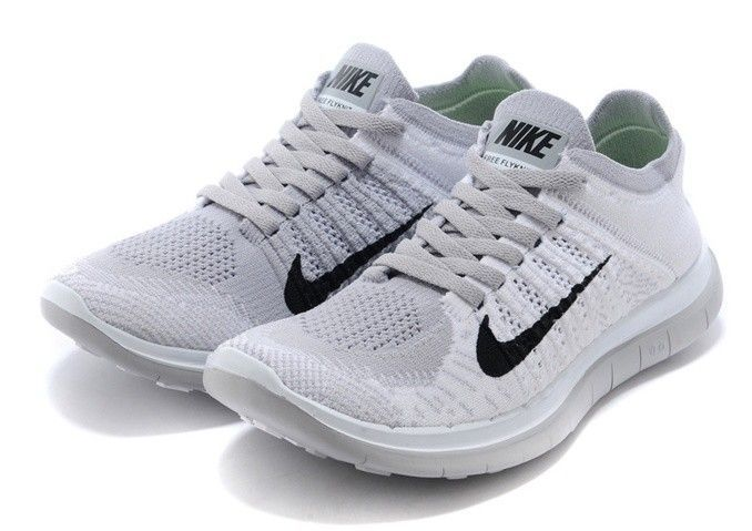 Womens Nike Free 4.0 Flyknit Shoes Light Gray Black Hot, $105.29 | www.lovenikesneaker.com