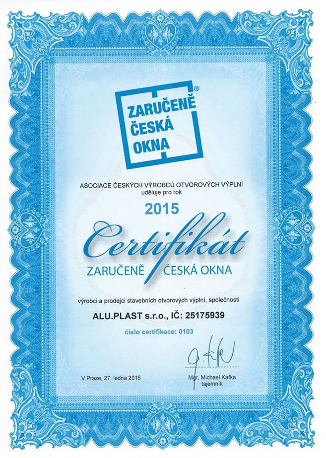 Jsme držiteli certifikátu ZARUČENĚ ČESKÁ OKNA