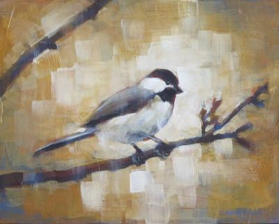 Connie Geerts, Chickadee,  Acrylic on Board  8 X 10 in. #CanadianArt $250