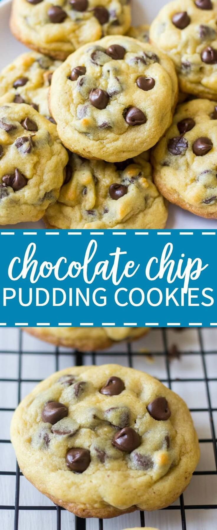 Soft and chewy, these chocolate chip pudding cookies are the best cookie recipe you will ever make! They use the typical cookie ingredients (flour, sugar, butter etc) but they have a secret ingredient(Best Chocolate Chip)