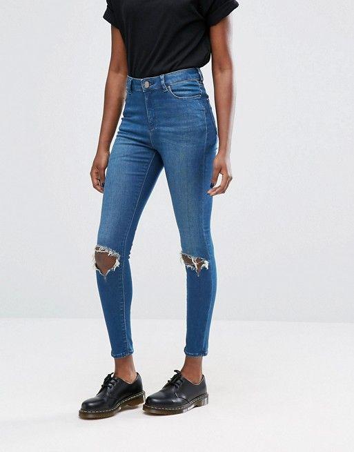 ASOS | ASOS - Ridley - Jean skinny taille haute à délavage stone foncé Mahogany avec genoux déchirés