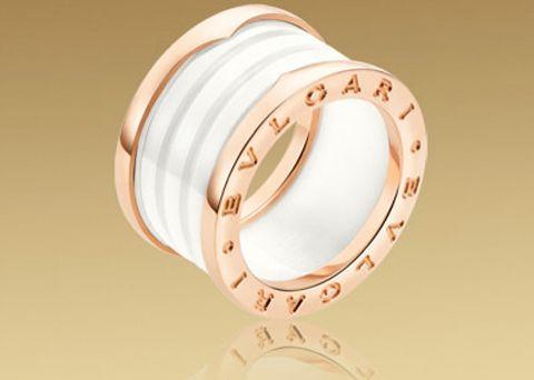 B.ZERO1 4-band #Bulgari Ring Ref.AN855564 in 18kt Pink Gold with White Ceramic €900.00.Anello #Bulgari B Zero1 4 Bande Ref.AN855564 Oro Rosa e Ceramica Bianca € 900,00.