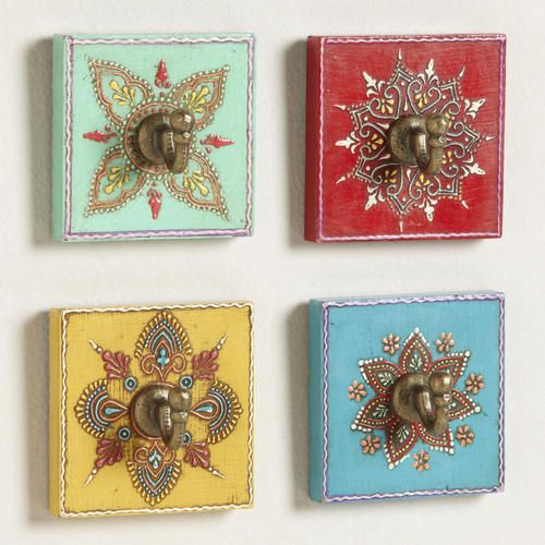 One of my favorite discoveries at WorldMarket.com: Assorted Painted Square Hooks, Set of 4