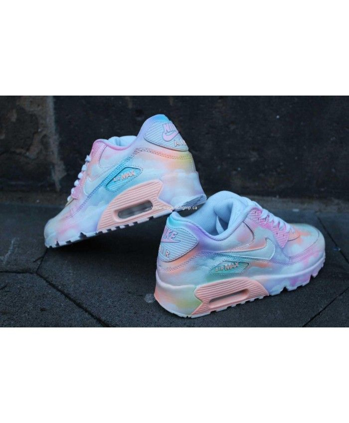 Cheap Nike Air Max 90 Custom Painted Cloudy Pastell Dream Trainers Sale UK cffc1a7170b7