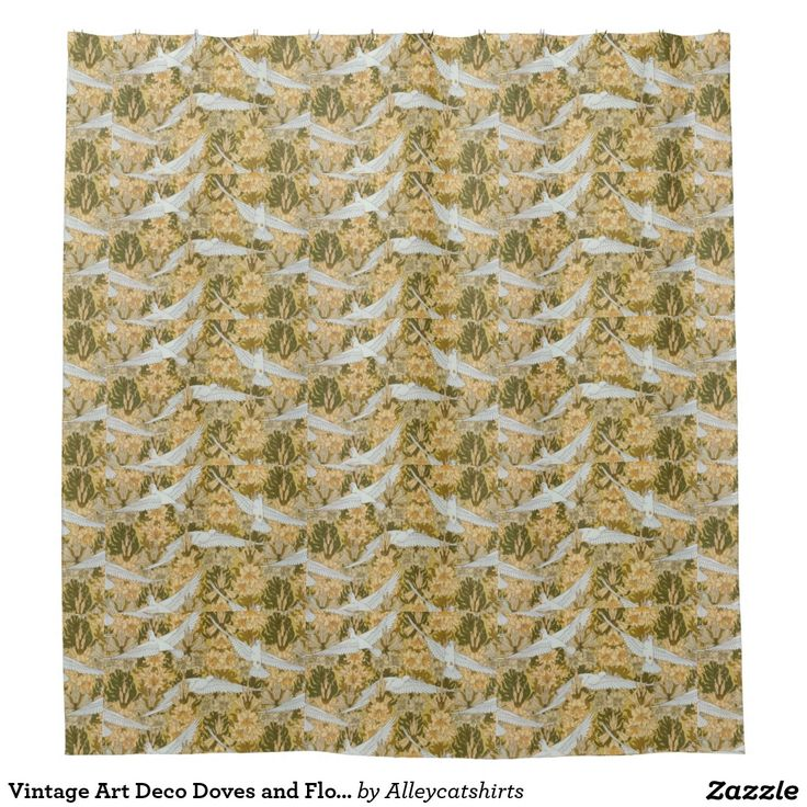 Vintage Art Deco Doves and Flowers Shower Curtain