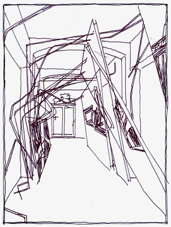 """LEBBEUS WOODS : Sketch by LW of a corridor in the Heinz Architectural Center of the Carnegie Museum of Art, Pittsburgh, part of the exhibition """"Lebbeus Woods: Experimental Architecture"""" (2004), curated by Tracy Myers"""