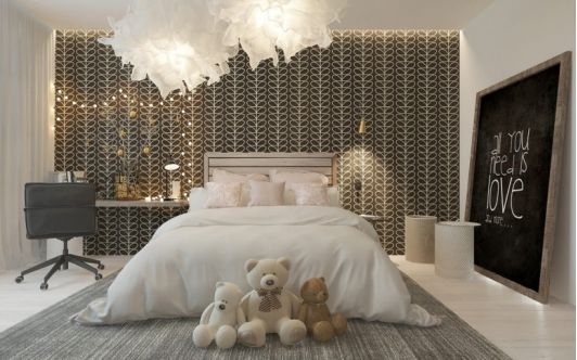 Modern Girl's Room with Patterned Wallpaper