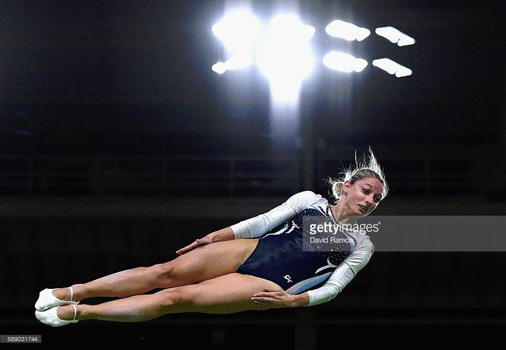 Hanna Harchonak of Belarus competes during the Trampoline Gymnastics Women's Qualification on Day 7 of the Rio 2016 Olympic Games at the Rio Olympic Arena on August 12, 2016 in Rio de Janeiro, Brazil.