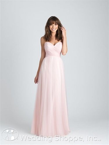 Allure 1505: A tulle A-line bridesmaid dress with a strapless, sweetheart neckline.
